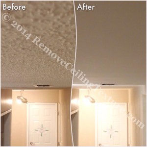 Covering Popcorn Ceilings: Before and after photo of a hallway in Delta