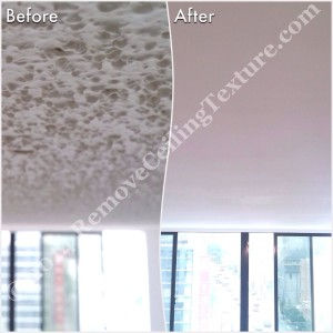 Before and after popcorn ceilings were removed - Dining Room