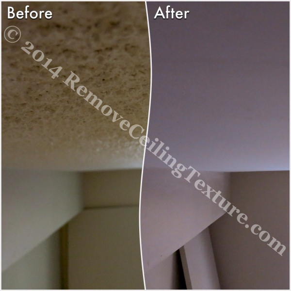 Before and after of ceiling texture removal at a condo at 621 East 6th Ave, Vancouver - Bedroom (4)