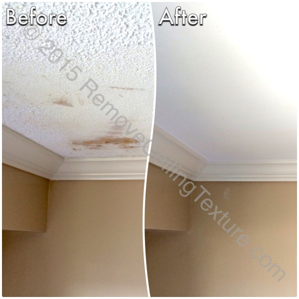 This was a failed DIY attempt at scraped concrete ceilings. We were called in to fix the ceilings.